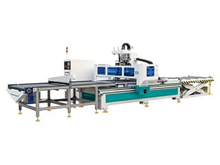 Panel furniture production line with automatic nesting system