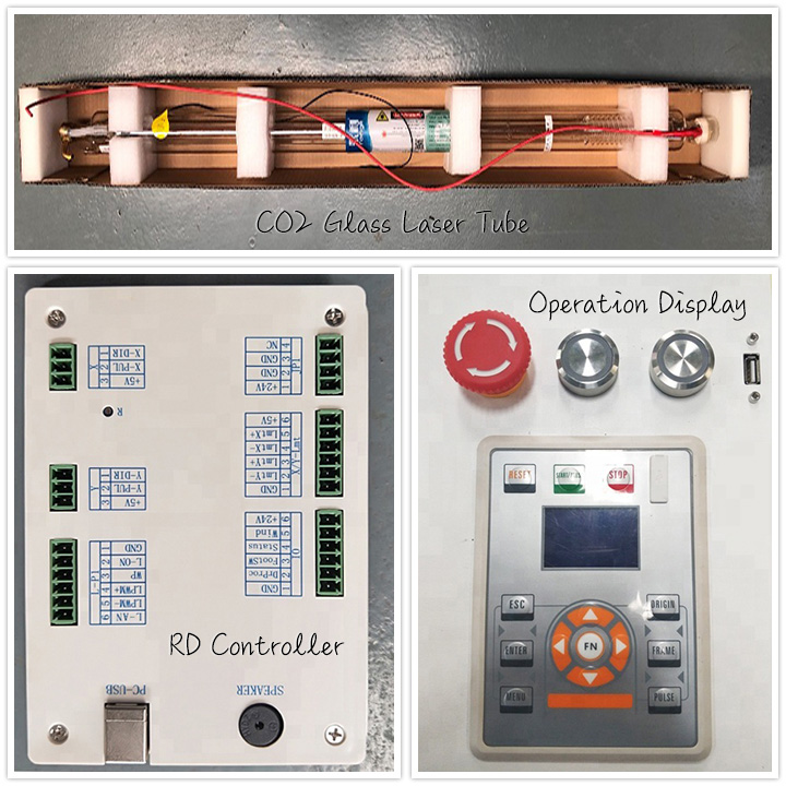 CO2 Glass Laser Tube, RD Controller and Operation Display
