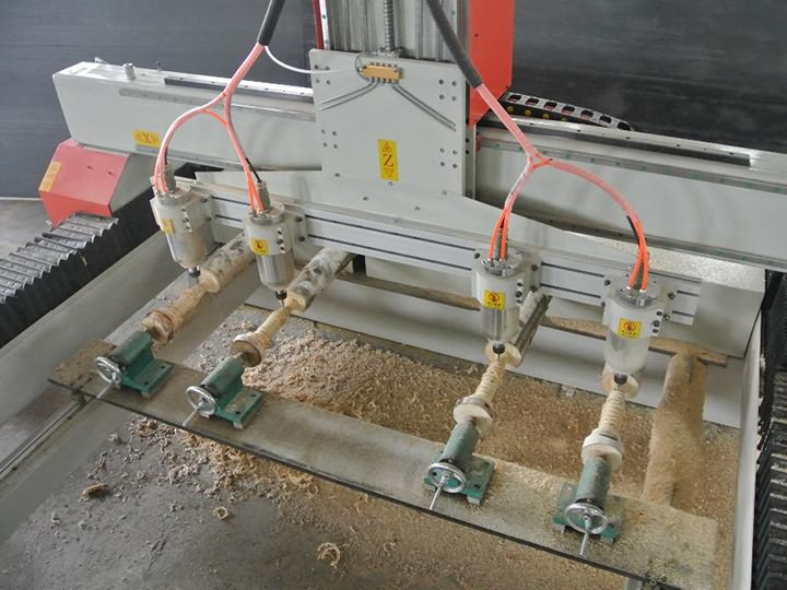 4 heads CNC router with rotary axis