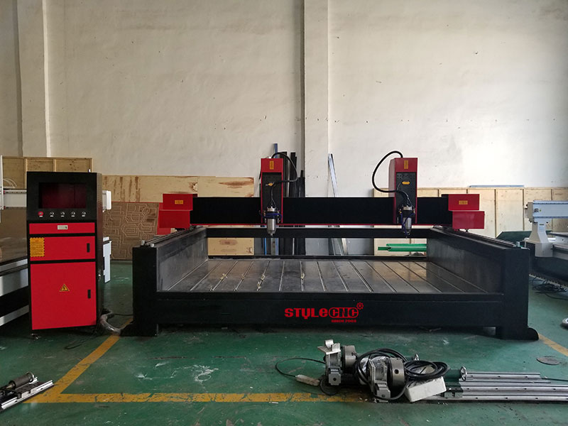 Large Format Stone CNC Machine for 3D Carving with Dual Spindles