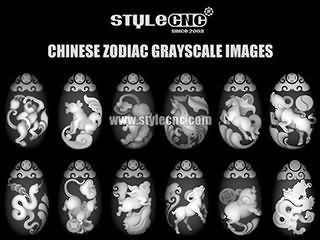 CNC router grayscale images with Chinese Zodiac