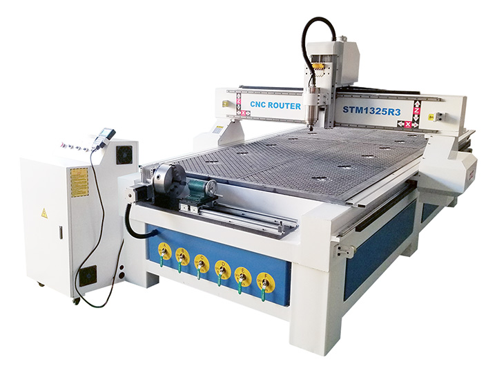 The First Picture of 1325 CNC Router with 4 Axis Rotary Table
