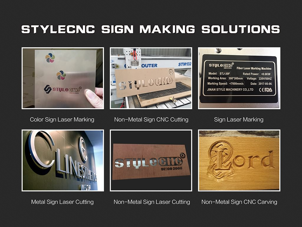 Different signs making solutions with CNC routers, laser