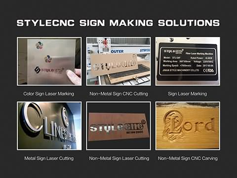 Different signs making solutions with CNC routers, laser engraving and cutting machines