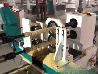 Double axis CNC wood lathe machine with spindle carving