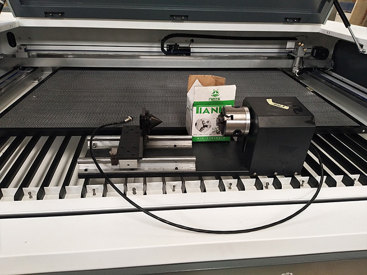 Rotary device for hobby laser cutter