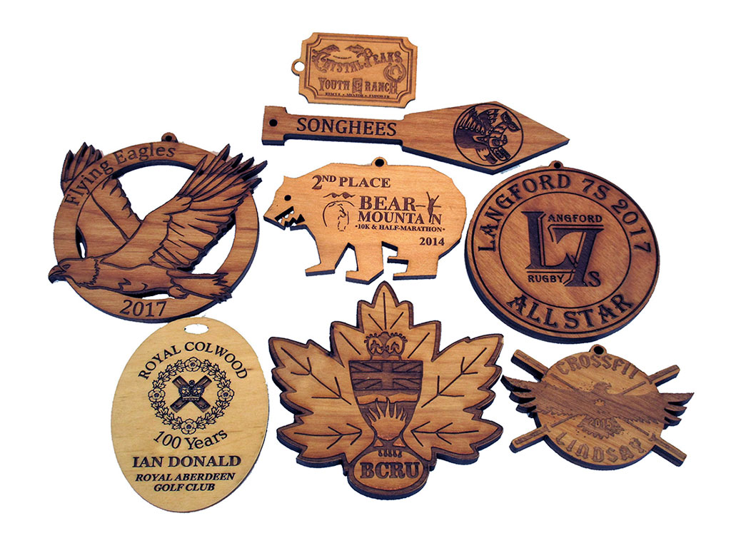 Woodcrafts Laser Engraving and Cutting Samples by CO2 Laser Cutter