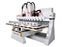Multi-heads 3D CNC Router with 12 Spindles and Rotary Table