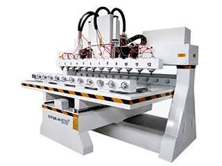<b>Multi-heads 3D CNC Router with 12 spindles and rotary device</b>