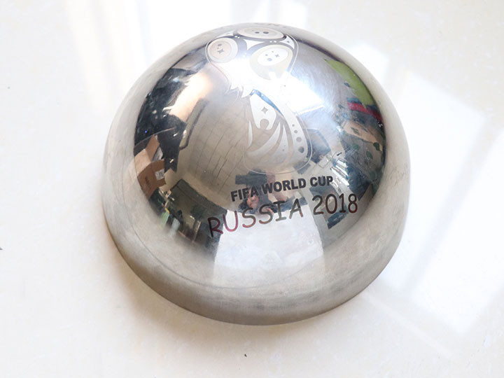 Hemispherical steel marking FIFA World Cup logo