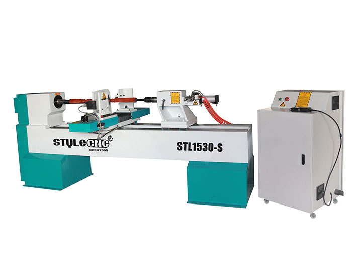CNC Woodworking Lathe Machine with Single Spindle and Double Cutters