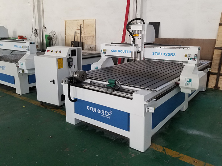 The Fourth Picture of 1325 CNC Router with 4 Axis Rotary Table