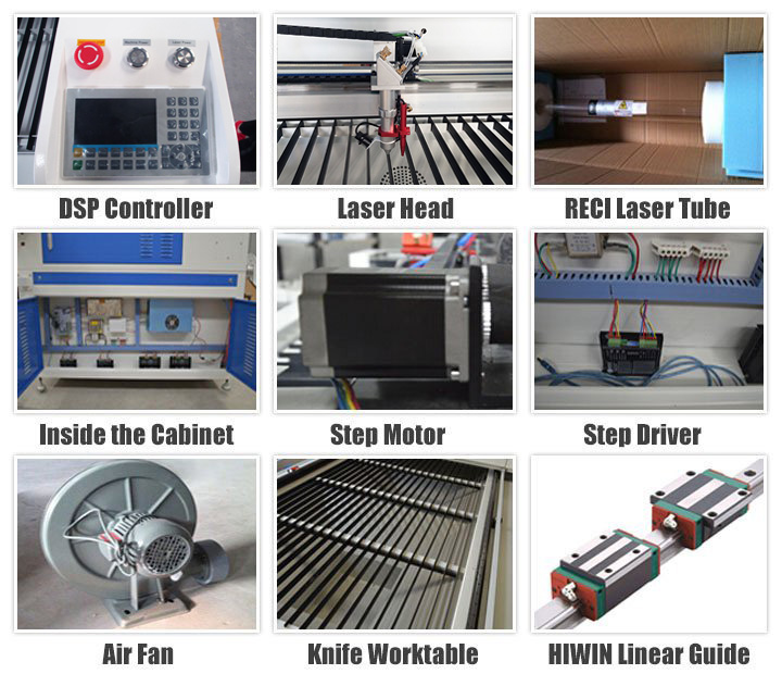 Standard Configuration for CO2 Laser engraving machine 60W/80W/100W/130W/150W/180W