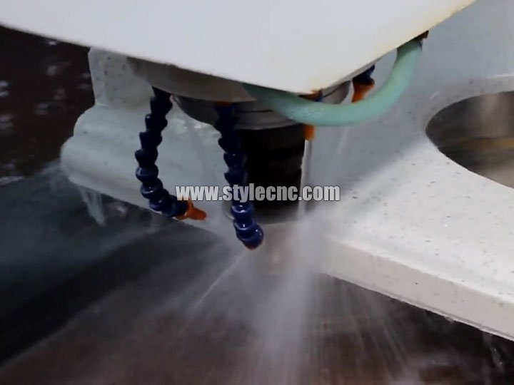 CNC stone cutting and polishing machine for quartz, granite, marble working process