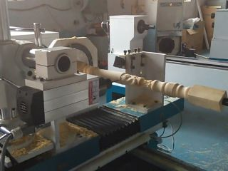CNC wood turning lathe machine with single spindle and double cutters
