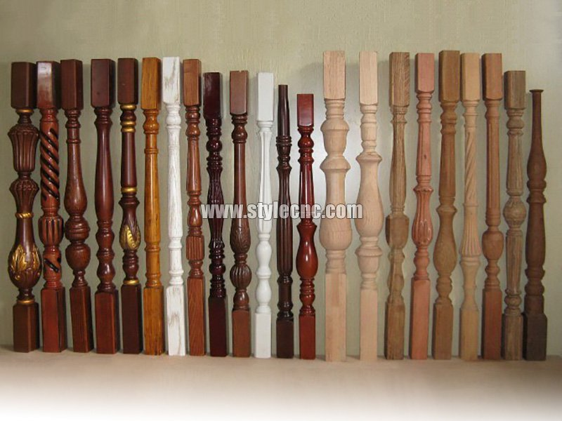 Wooden columns sample 01 making by CNC wood turning lathe machine