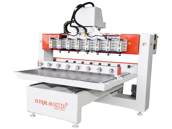 CNC Router with 4 axis rotary and 8 heads