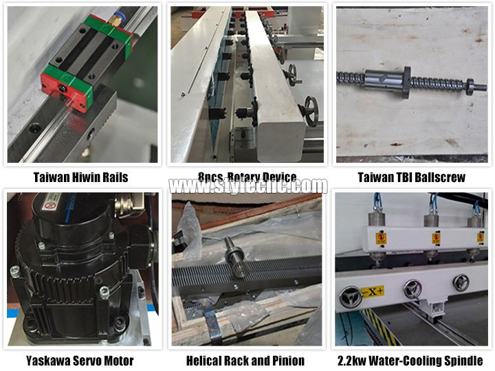 Features of CNC Router with 4 axis rotary and 8 heads