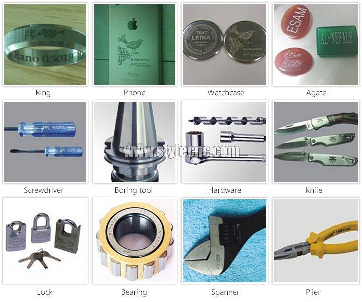 Samples of desktop fiber laser marking machine for metal and non-metal