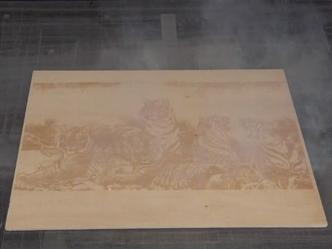 Laser marking tiger on wood as arts and crafts with high speed by CO2 laser marking machine
