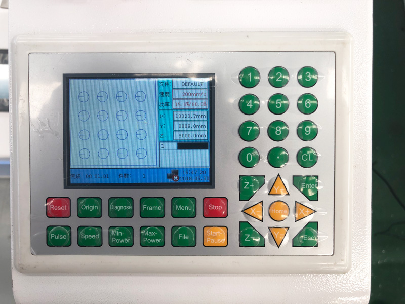 1325 acrylic laser cutter control panel