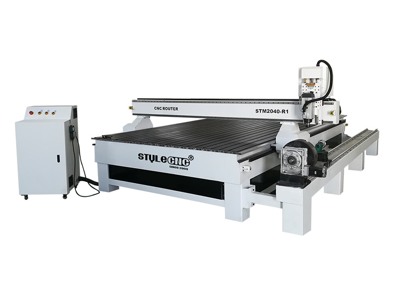 STM2040-R1 4x8 CNC Router for Aluminum with 4th Rotary Axis at Side