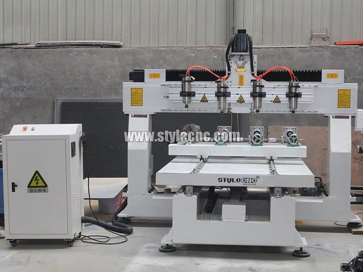 The First Picture of STYLECNC® 3D CNC router machine 1325 with 4 axis rotary