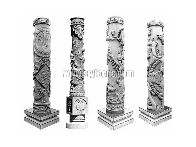 Multi heads 3D CNC stone carving machine for marble columns manufacturing