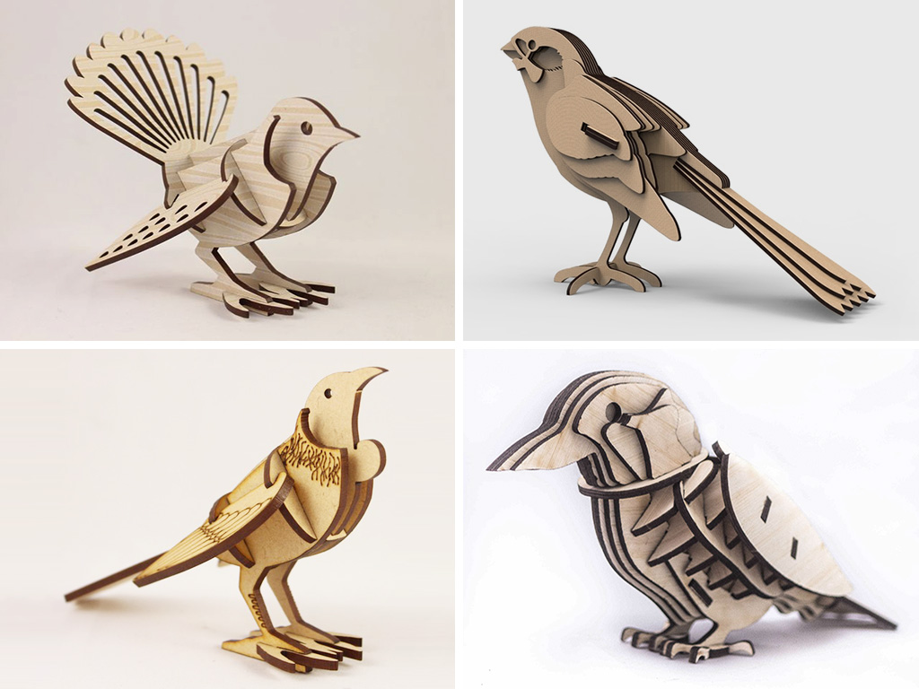 MDF kid birds laser cutting projects