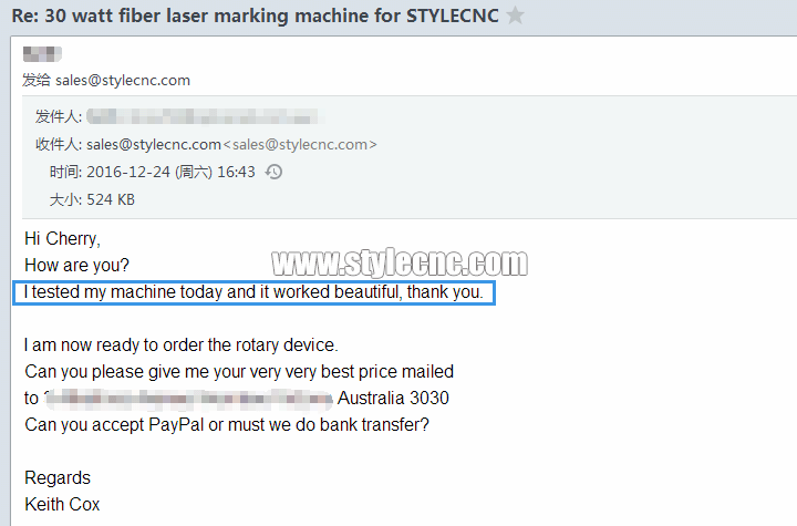 customer feedback of fiber laser marking machine