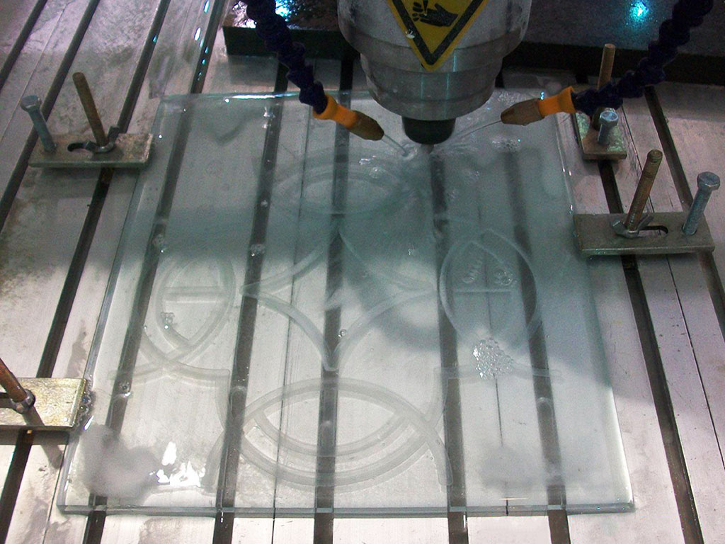 CNC glass carving and cutting machine samples