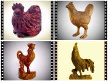 3D Wood  Rooster Crafts CNC Router Applications for 2017 Chinese New Year