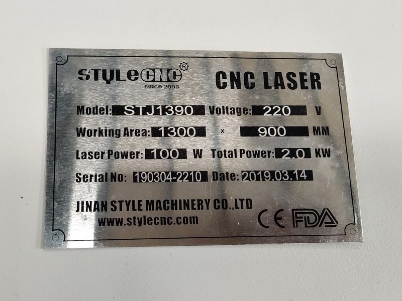 Control panel for STJ1390 CO2 laser wood cutting machine