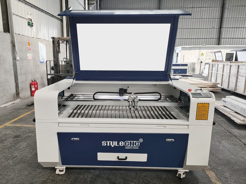 The First Picture of 2 Heads CNC Laser Cutter for sale with best price