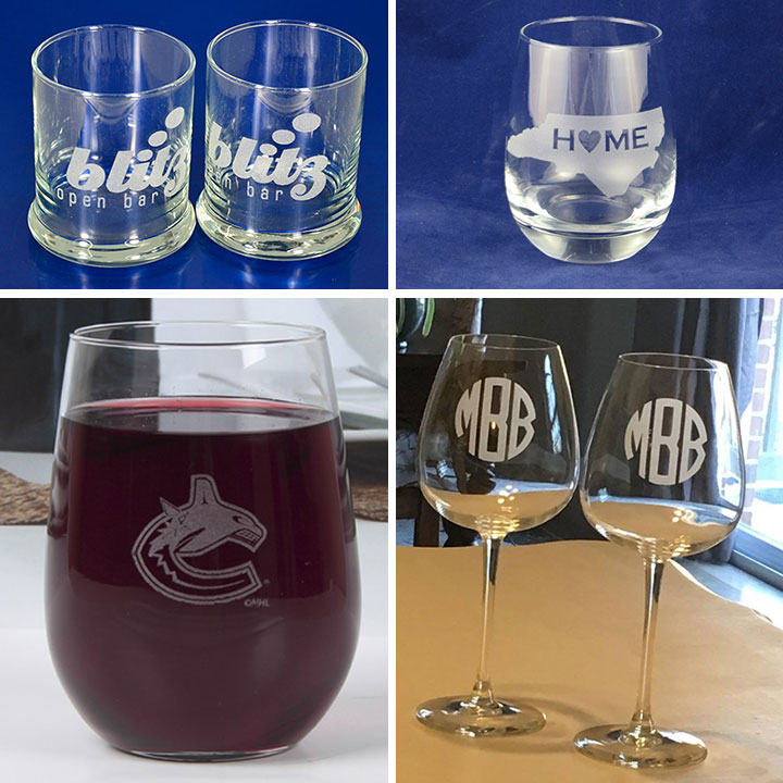 UV laser marking wine glass