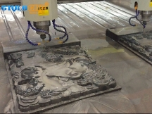 Double Heads Stone Carving CNC Router Machine for Marble