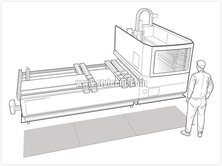 C-frame/cantilever arm machine with safety mats