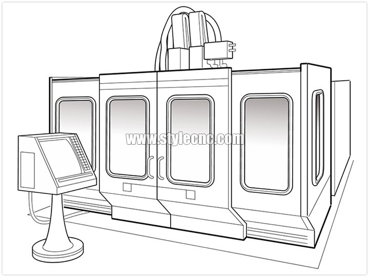 CNC machining center inside full enclosure