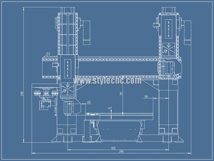 small 5 axis CNC machining center design