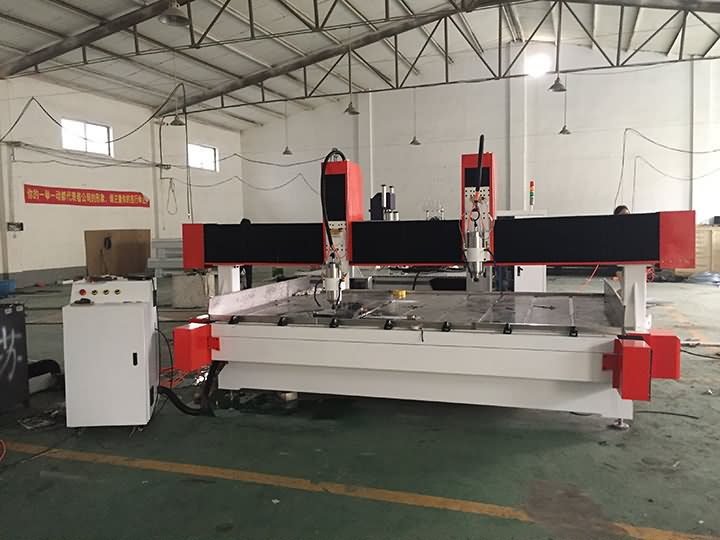STS1530 stone CNC router with dual spindles 5.5KW delivery to India