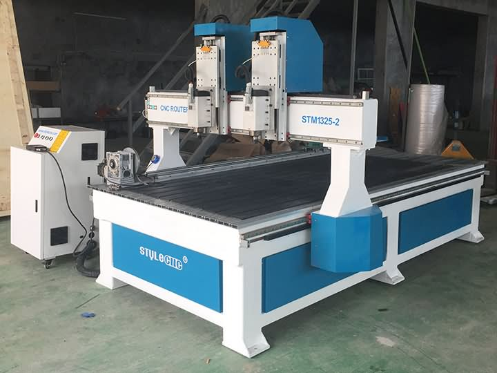 Vietnam 4th axis wood CNC router with two spindles