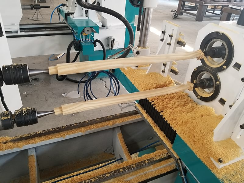 Double Axis CNC Wood Turning Lathe Machine for Woodworking Testing Video