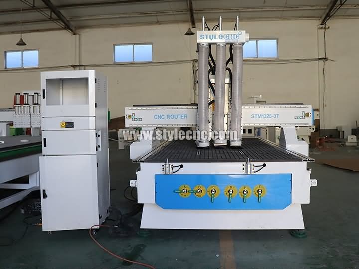 wood door cnc router with 3 spindles