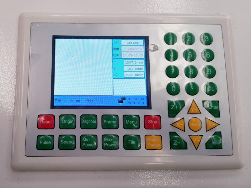 control panel of laser cutter 280w