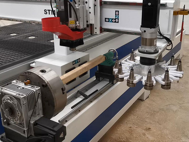 4th rotary axis for CNC wood machining center