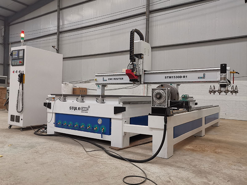 CNC wood machining center with 4 axis rotary