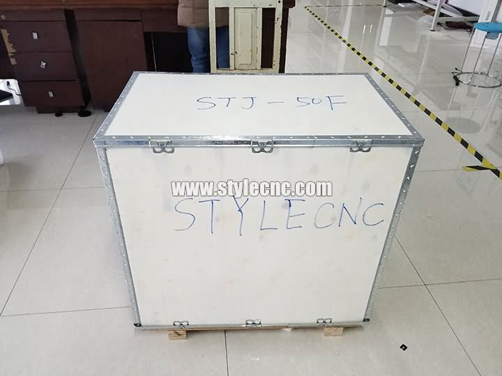 plywood case of STJ-50F deep laser engraving machine with CCD camera