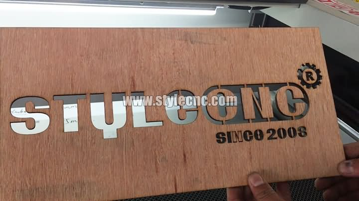 Wooden sign cutting by CO2 laser cutter