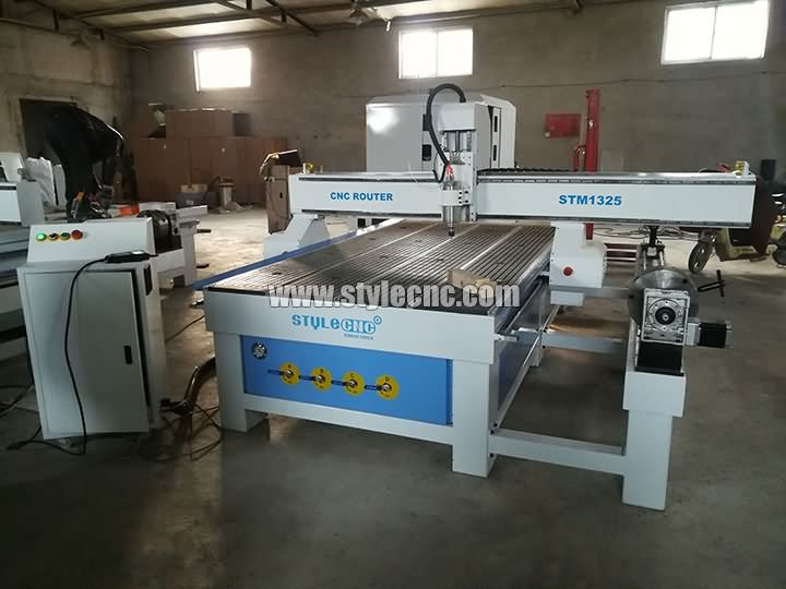 STM1325 CNC router machine with 4 axis rotary on side