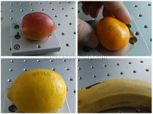 30W CO2 laser marking fruit for various logos and signs